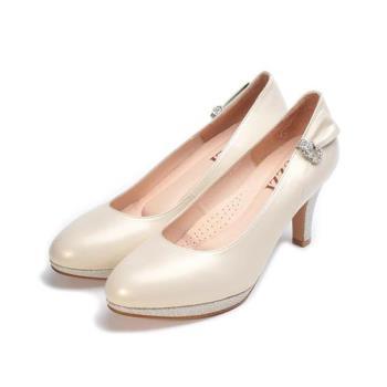 LUZZI 真皮侧鑽新娘鞋 米珠光 女鞋 鞋全家福