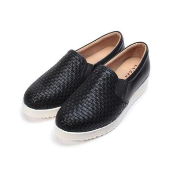 LUZZI 編織樂福鞋 黑 女鞋 鞋全家福