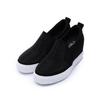 DOOK 韓風水鑽面內增高鞋 黑 女鞋 鞋全家福