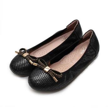 AGAPE 蝴蝶結仿蛇紋平底鞋 黑藍 女鞋 鞋全家福