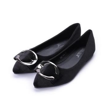YOUNG COLOR  絨布C釦尖頭平底鞋 黑 女鞋 鞋全家福