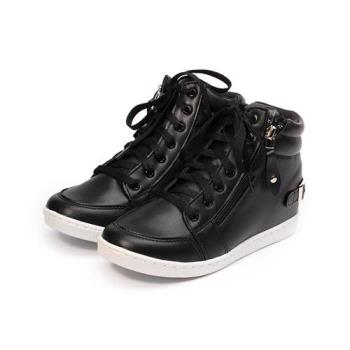 GIOVANNI VALENTINO 內增高側拉鍊高筒休閒鞋 黑 GV-8196 女鞋