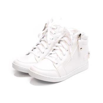 GIOVANNI VALENTINO 內增高側拉鍊高筒休閒鞋 白 GV-8196 女鞋 鞋全家福