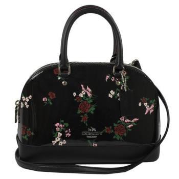 COACH 25857 馬車LOGO漆皮花卉圖案手提兩用包.黑