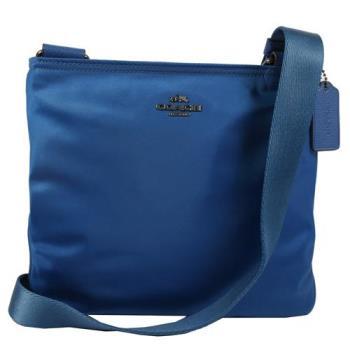 COACH 22346 經典馬車LOGO尼龍皮飾邊斜背包.藍