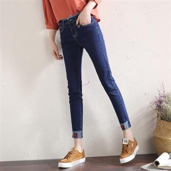 ALLK 反摺褲管直筒牛仔褲 深藍色(腰圍27-31)