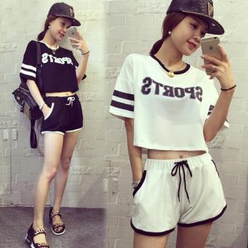 韓國KW  休閒寬鬆字母印花運動短褲套裝