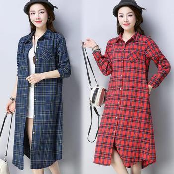 韓國KW 民族風復古格紋長版襯衫洋裝