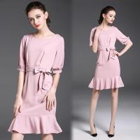 歐風KEITH-WILL  純真魅惑純色圓領洋裝