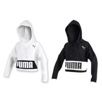 PUMA URBAN 女基本系列長厚連帽T恤-帽T T恤 短版長T 保暖