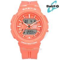 Baby-G CASIO / BGA-240BC-4A / 卡西歐 耐衝擊構造 慢跑 計時 防水100M 電子指針 雙顯 橡膠手錶 粉橘色 42mm