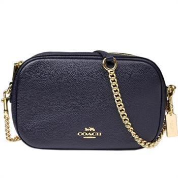【COACH】金車標誌 荔枝皮格紋皮革鏈袋斜背包(深靛藍)