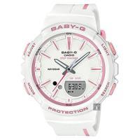 CASIO 卡西歐 Baby-G 慢跑計步粉彩手錶-白x粉紅時標 BGS-100RT-7ADR