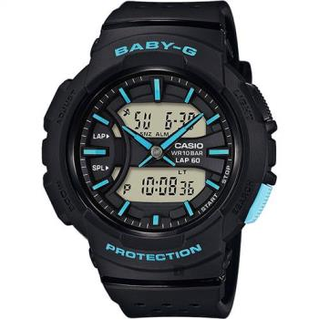 CASIO 卡西歐 Baby-G 慢跑粉彩手錶-黑x藍時標 BGA-240-1A3DR