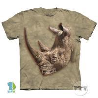 摩達客 (預購)(男童/女童裝)美國進口The Mountain 白犀牛側寫 純棉環保藝術中性短袖T恤