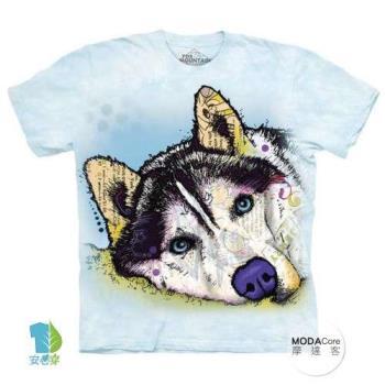 摩達客 (預購)(男童/女童裝)美國進口The Mountain 彩繪哈士奇雪橇犬 純棉環保藝術中性短袖T恤