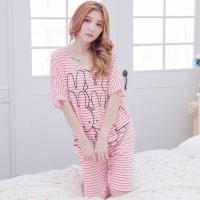 lingling日系 橫條紋寬袖短袖二件式睡衣組(全尺碼)