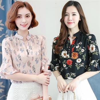韓國KW  型- 韓國首發雪紡荷葉袖上衣二件組
