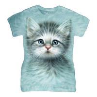 摩達客 The Mountain 藍眼小貓 短袖女長版T恤精梳棉環保染