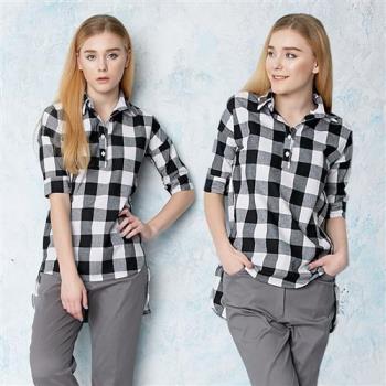 A3 黑白格紋棉質襯衫領上衣