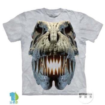 摩達客 (預購)(大尺碼4XL/5XL)美國進口The Mountain 銀雷克斯暴龍骷髏 純棉環保藝術中性短袖T恤