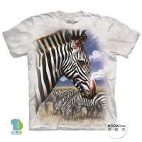 摩達客 (預購)(大尺碼4XL/5XL)美國進口The Mountain 斑馬頭像 純棉環保藝術中性短袖T恤