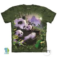 摩達客     大 3XL 美國 The Mountain 貓熊抱抱 純棉環保藝術中性短袖T恤