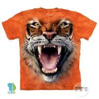 摩達客     大 3XL 美國 The Mountain 怒吼虎臉 純棉環保藝術中性短袖T恤