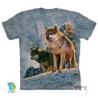 摩達客     大 3XL 美國 The Mountain 日落雙狼 純棉環保藝術中性短袖T恤