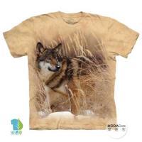 摩達客     大 3XL 美國 The Mountain 冬狼像 純棉環保藝術中性短袖T恤