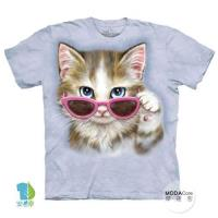 摩達客     大 3XL 美國 The Mountain 粉紅眼鏡貓 純棉環保藝術中性短袖T恤