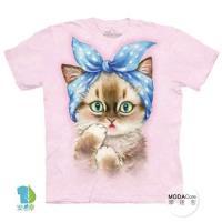 摩達客     大 3XL 美國 The Mountain 圓點髮帶貓 純棉環保藝術中性短袖T恤