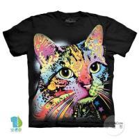 摩達客     大 3XL 美國 The Mountain 彩繪卡通貓 純棉環保藝術中性短袖T恤