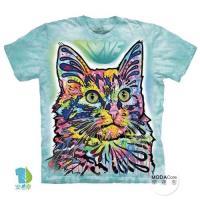 摩達客     大 3XL 美國 The Mountain 彩繪安哥拉貓 純棉環保藝術中性短袖T恤