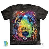 摩達客     大 3XL 美國 The Mountain 彩繪狼犬臉 純棉環保藝術中性短袖T恤