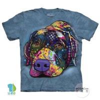 摩達客     大 3XL 美國 The Mountain 彩繪拉不拉多 純棉環保藝術中性短袖T恤