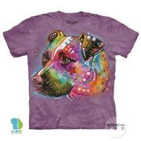 摩達客     大 3XL 美國 The Mountain 彩繪凝視犬 純棉環保藝術中性短袖T恤