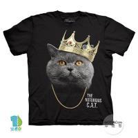 摩達客 (預購)美國進口The Mountain 皇冠饒舌貓 純棉環保藝術中性短袖T恤