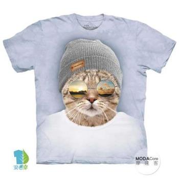 摩達客 (預購) 美國進口The Mountain 墨鏡文青貓 純棉環保藝術中性短袖T恤