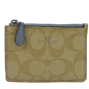 COACH 16107 經典LOGO PVC皮革證件鑰匙零錢包.卡其/淡藍