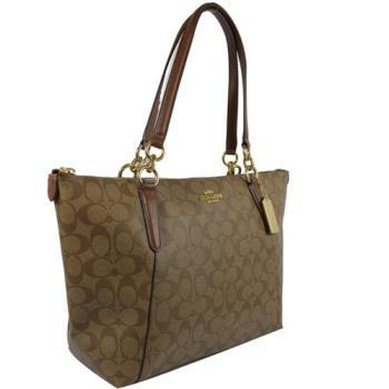 COACH 58318 經典LOGO PVC皮飾邊金鍊托特購物包.駝/咖