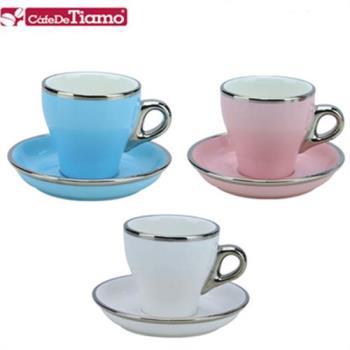 TIAMO 14號鬱金香卡布咖啡杯盤組(白金邊) 三色組 180cc