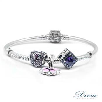 DINA JEWELRY蒂娜珠寶  紫方時尚  潘朵拉風格925純銀CZ鑽手環 ( CLY88605)