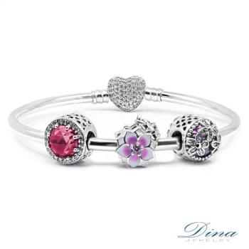 DINA JEWELRY蒂娜珠寶  紅情時尚 潘朵拉風格925純銀CZ鑽手環 ( CLY87145)