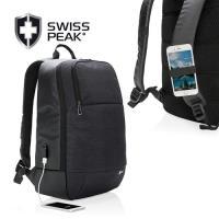 SWISS PEAK modern 外掛式行動充電通勤/休閒15吋筆電後背包