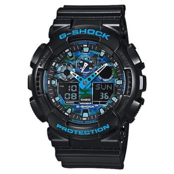 CASIO 卡西歐 G-SHOCK 迷彩玩酷雙顯手錶-藍x黑 GA-100CB-1A
