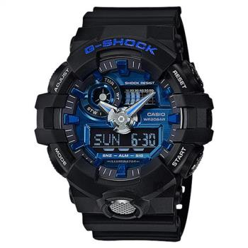 CASIO 卡西歐 G-SHOCK 金屬系雙顯手錶-藍x黑 GA-710-1A2