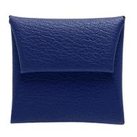 HERMES 經典Bastia系列山羊皮方型暗釦零錢包(電光藍)