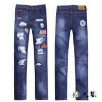 男人幫-刷破款窄版布標破壞中直筒小直筒牛仔褲潮流