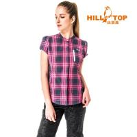 【hilltop山頂鳥】女款吸濕排汗抗UV短袖襯衫S06F58-深藍底粉紅格